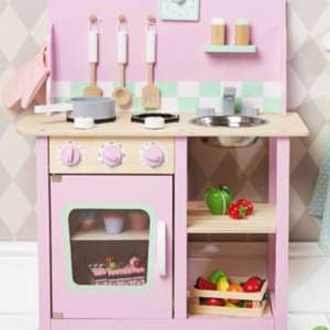 Pink wooden play kitchen £57.95 inc del @ Gltc