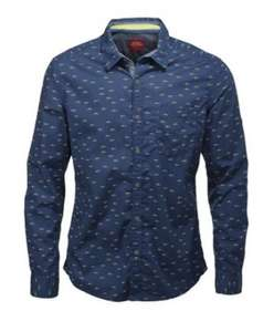 ESPRIT Mens Printed Longsleeve Shirt Navy or white was 29 now 8.99 (min order £15)