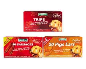 Box Dog Treats choose from Pigs Ears, Sausages or Tripe Sticks £8.99 @ ALDI from 7th Aug
