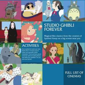 Studio Ghibli Forever: Various Cinema Screenings in August £4-8
