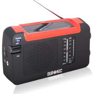 Duronic Hybrid Radio - Wind-Up, Solar & Rechargeable AM/FM Radio for £11.99 Sold by DURONIC and Fulfilled by Amazon