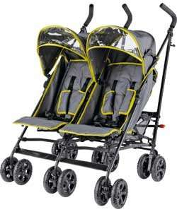 BabyStart Twin Pushchair - Grey and Green - £59.99 @ Argos (was £99.99) Suitable from birth.