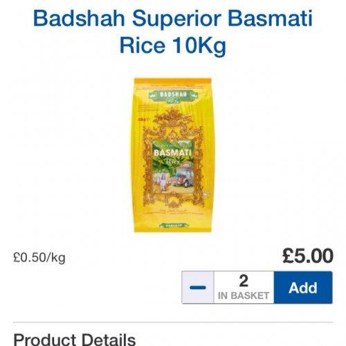 10kg Badshah Superior Basmati Rice £5.00 @ Tesco instore