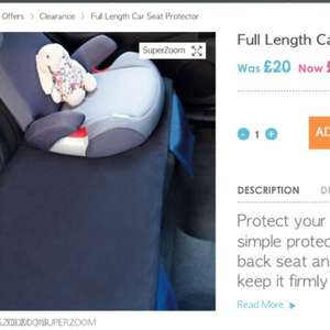 Full length car seat protector. Was £20 Now £8 plus £3.95 Delivery @ Great Little Trading Co.