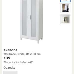 Double wardrobe reduced to £39 from ikea
