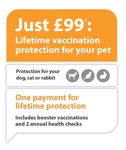 Vac4Life - Annual cat/dog/rabbit boosters for life £99 @ Companion Care Vets