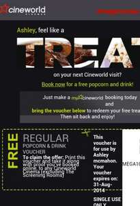 free drink & popcorn with voucher @ cine world via email