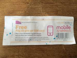 Free SIM and £10 top up with ? purchase @ Sainsbury's mobile