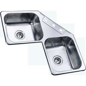 Sauber 2.0 Bowl Corner Stainless Steel Kitchen Sink WAS £99.97 NOW £29.98 + Free Delivery @ Plumbworld