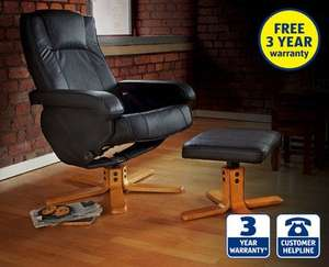 Leather Reclining Chair with Footstool from 21st at ALDI