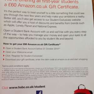 HSBC Students Amazon £60 gift certificate for switching/opening a student account.  @ HSBC