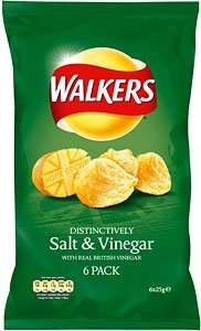 Walkers Crisps - Salt & Vinegar (6 x 25g) £1.68 - Free after 100% Cashback via mysupermarket