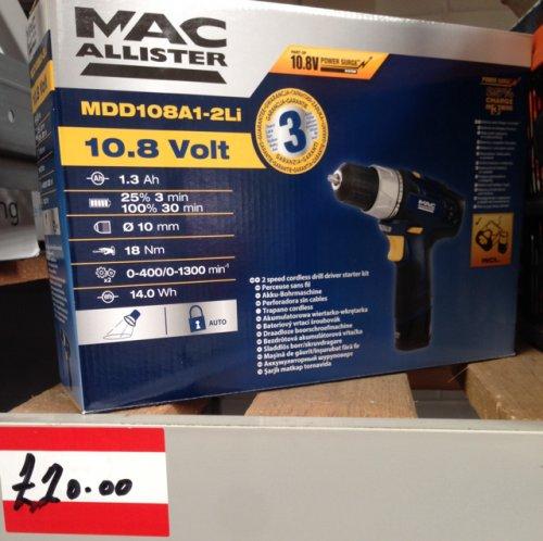 Mac Allister 10.8v Drill Driver B&Q £20