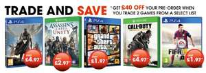 Destiny £4.97, GTA PS4 £1.97, FIFA 15 £1.97 when you trade in 2 games GAMESTOP