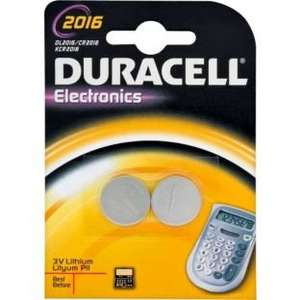 Duracell Electronics CR2016 / 2016 - 2 Batteries - 2 Pack 79p @ Argos