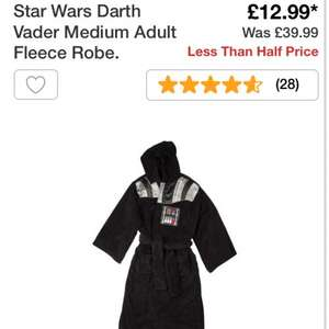 Star Wars darth vader and R2D2 dressing gown fleece robe £12.99 at argos (great early christmas present ladies)