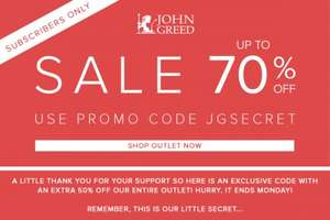John Greed Jewellery outlet- up to 70% sizzling summer sale with secret extra 50% off code + cashback