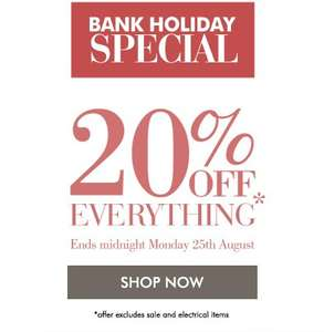 Bank Holiday Special 20% off Everything (excludes sale+electricals) @ Kaleidoscope