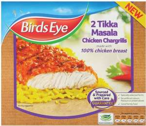 Birds Eye (2) Tikka Masala Chicken (74% Breast) Chargrills (174g) was £1.69 now £1.00 @ Tesco