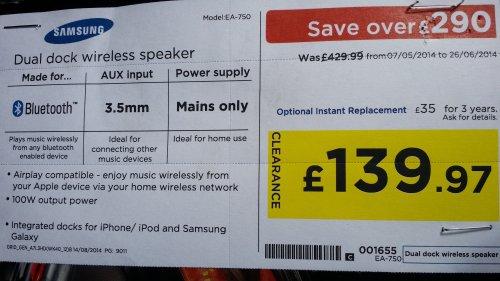 Samsung DA-E750 speaker dock - Now £139.97 @ Currys