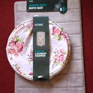 Primark in Huddersfield home reductions The pop-up floral laundry hamper £2.30  bath mat was £2.30