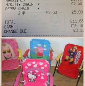 Kiddies picnic chairs (peppa pig, hello kitty etc) £2.50 in store at Tesco Leigh