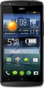 Acer Liquid E700 Trio Smartphone (12.7 cm (5 inches) Zero-Air-Gap IPS HD display, tri-SIM, 1.3 GHz, quad-core processor, 2GB RAM, 16GB of internal storage, 8 megapixel camera, Android 4.4.2 KitKat) black  now £142 €179@ AMAZON.DE