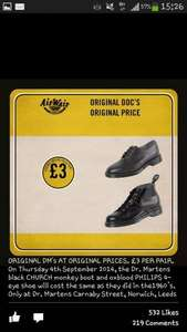 Dr Martens boots £3 for one day only 4th Sept Instore leeds/London/Norwich