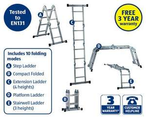 Multi-Purpose Folding Ladder - with 3yr Warantee @ Aldi - £49.99