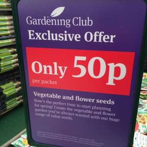 The garden centre group all seeds 50p