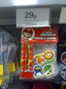 Super Mario bros. wii - pencils + Erasers set 29p in home bargains