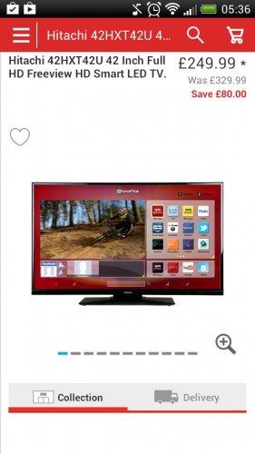 Hitachi 42HXT42U 42 Inch Full HD Freeview HD Smart LED TV £249 @ Argos