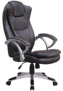 Executive Office Chair High Back Faux Leather In Brown £44.99 @ eBay / catch_22