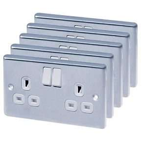LAP 13A 2-Gang DP Switched Plug Socket Brushed Stainless Steel Pack of 5 £14.99 @ Screwfix