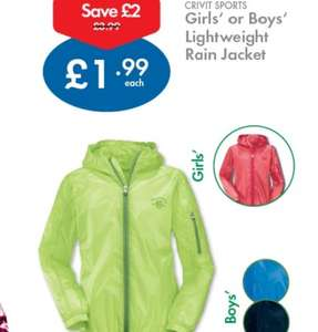 Lidl NI stores kids rain coats down from £3.99 to £1.99 part of THEIR !! clearance sale