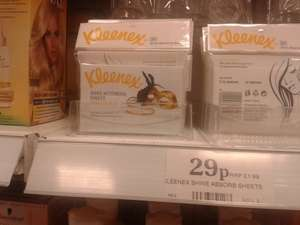 Kleenex Shine Absorbing sheets x 50 29p Home & Bargains