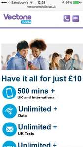 Vectone mobile student offer £10 unlimited data/SMS/500 minutes. Unlimited vectone minutes and SMS