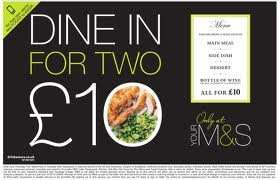 M&S Meal Deal £10 with wine and dinner for 2 on now