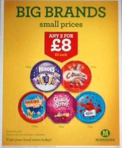 Morrisons, Celebrations, Heroes, Roses & Quality Street 2 for £8