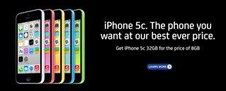 Phones 4u iphone 5c 32gb for price of 8gb plus £50 automatic cashback £29.99 pm @ Phones4U