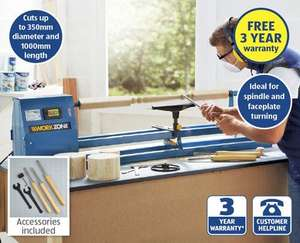 "40"" Wood Turning Lathe with 3 year warranty £89.99 from Sunday 7th Sep @ Aldi"