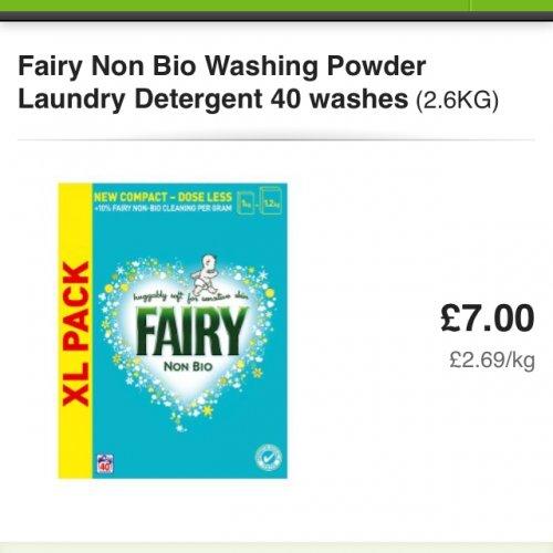 Fairy non bio washing powder 40 washes(2.6kg) £7 at Asda online