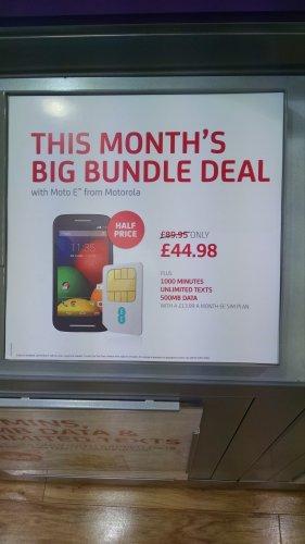 Moto E - 1,000 Mins, Unltd Texts, 500MB Data - 12 Months - £44.98 instore @ Phones4U