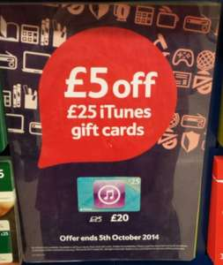 £25 iTunes gift card for £20 @ Tesco instore