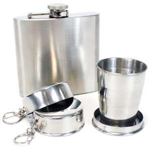 3 popup offers - pint glass, wine glass and hip flask set - £1 each - halfords