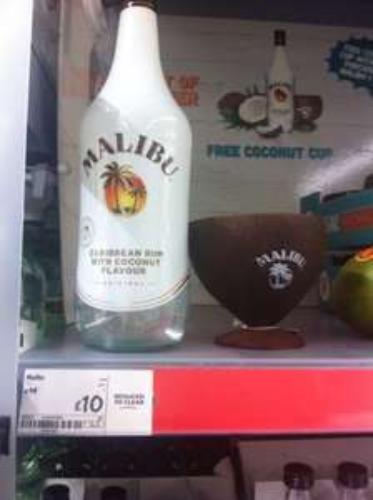 Malibu 1 litre + free coconut cup £10.00 @ Asda Bloxwich store specific