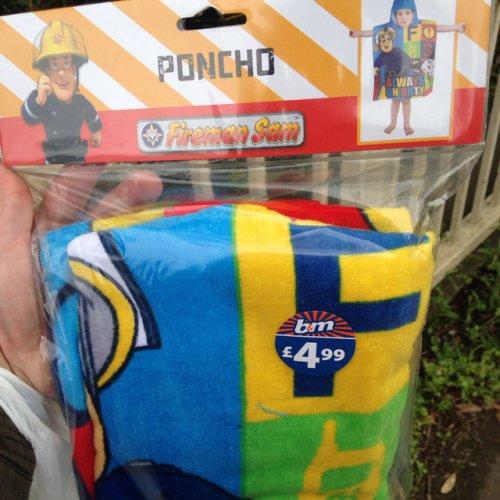Fireman Sam Poncho towels scanning £1 b&m