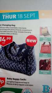 Baby changing bag (changing mat included)£14.99 @ aldi sep 18