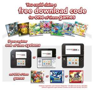 Register a 3DS and a copy of SSB or Pokemon and get a free game download including Zelda/Mario/Yoshi (list in comments) @ Nintendo