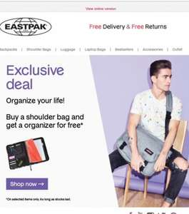 Shoulder bag + Free organiser (worth £25) from 23.04 @ Eastpak